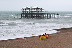 © Licensed to London News Pictures. 29/05/2015. Brighton, UK. High waves and power gusts of wind are battering Brighton Seafront, today May 29th 2015. Photo credit : Hugo Michiels/LNP