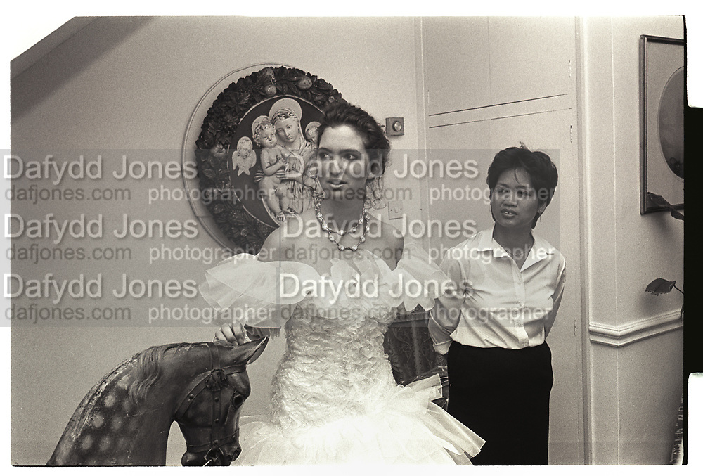 TANIA PHILLIPS, MAID: MYVNA NUDALO, MRS DAVINA PHILLIPS PARTY FOR LISA AND TANIA. LITTLE BOLTONS, 28 JUNE 1986.