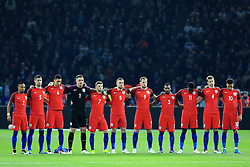 The England starting line up hold a minutes silence before the game - Mandatory by-line: Matt McNulty/JMP - 26/03/2016 - FOOTBALL - Olympiastadion - Berlin, Germany - Germany v England - International Friendly