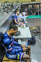 Gregory Bauge / Francois Pervis - 27.01.2015 -Entrainement Equipe de France de cyclisme sur piste - Saint Quentin en Yvelines <br />Photo : Anthony Dibon / Icon Sport