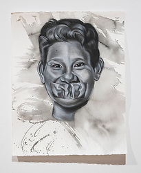 April 26, 2018 - Tampa, Florida, U.S. - A charcoal portrait of Parkland victim Martin Duque, by Symone Hall in the BFA show at the Scarfone/Hartley Gallery at the University of Tampa, on April 26, 2018 in Tampa, Fla. (Credit Image: © Monica Herndon/Tampa Bay Times via ZUMA Wire)