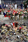 Wenceslas Square. Velvet Revolution memorial. Prague, Czech Republic.