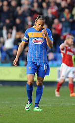 Shrewsbury Town's Tamika Mkandawire cuts a dejected figure at the end of the game as Shrewsbury Town lose 2 - 3 to Bristol City - Photo mandatory by-line: Dougie Allward/JMP - Mobile: 07966 386802 08/03/2014 - SPORT - FOOTBALL - Shrewsbury - New Meadow - Shrewsbury Town v Bristol City - Sky Bet League One