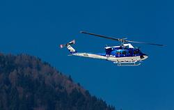 Helicopter of Slovenian police in action during 2nd Run of Men's Slalom of FIS Ski World Cup Alpine Kranjska Gora, on March 6, 2011 in Vitranc/Podkoren, Kranjska Gora, Slovenia.  (Photo By Vid Ponikvar / Sportida.com)