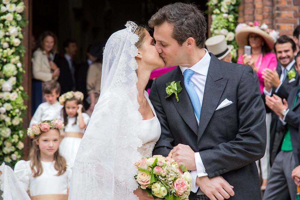 Beloeil, Belgium, 18/06/2016<br /> Princess Alix de Ligne, daughter of Michel de Ligne and Grand Duchess Charlotte of Luxembourg married the Earl Guillaume de Dampierre in the church of the city of Beloeil, Belgium.<br /> The reception has been held in the beautiful castle of Beloeil.<br /> The wedding dress has been designed by the belgian fashion designer Gerald Watelet.<br /> Alix (born in 1984) and Guillaume (born in 1985) are both from noble families, well known in Belgium and Luxembourg.<br /> They met in Brazil and are both working over there.<br /> Pix : Princess Alix de Ligne / Earl Guillaume de Dampierre<br /> Credit photo : Aurore Belot / Isopix