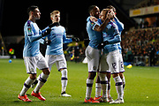 Manchester City players celebrate their goal scored by Raheem Sterling (7) of Manchester City (1-2) during the EFL Cup match between Oxford United and Manchester City at the Kassam Stadium, Oxford, England on 18 December 2019.