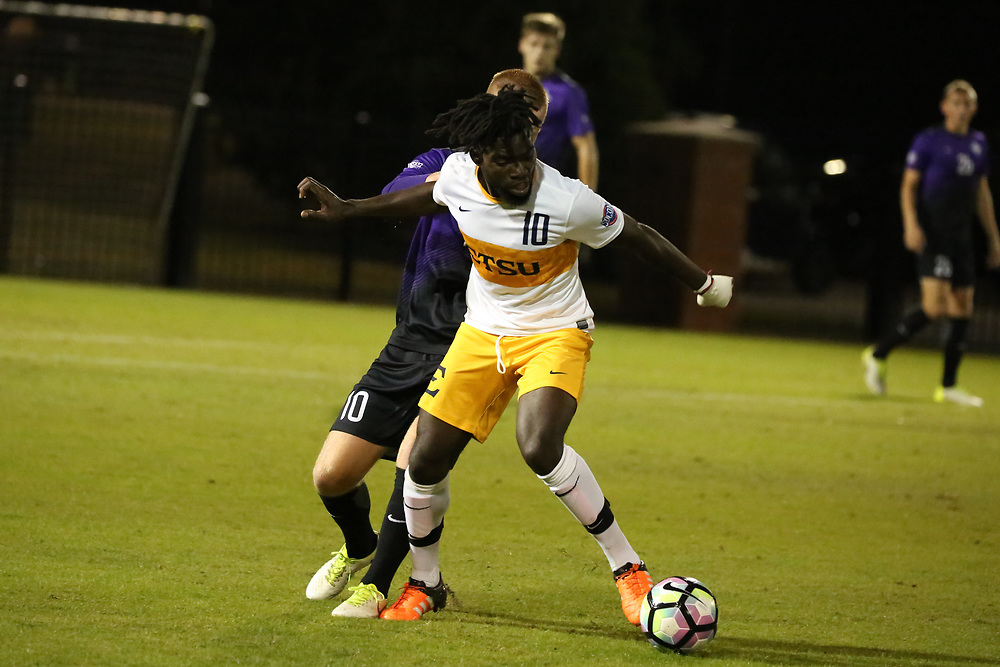 October 6, 2017 - Johnson City, Tennessee - Summers-Taylor Stadium: ETSU midfielder Serge Gomis (10)<br /> <br /> Image Credit: Dakota Hamilton/ETSU