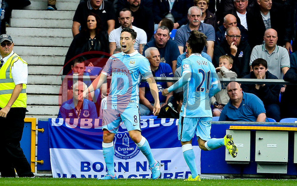 Samir Nasri of Manchester City celebrates after scoring his sides second goal  - Mandatory byline: Matt McNulty/JMP - 07966386802 - 23/08/2015 - FOOTBALL - Goodison Park -Everton,England - Everton v Manchester City - Barclays Premier League
