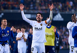 March 1, 2019 - Valencia, U.S. - VALENCIA, SPAIN - FEBRUARY 28: Dani Parejo, captain of Valencia CF celebrate the pass to the final with their fans during the Copa del Rey match between Valencia CF and Real Betis Balompie at Mestalla stadium on February 28, 2019 in Valencia, Spain. (Photo by Carlos Sanchez Martinez/Icon Sportswire) (Credit Image: © Carlos Sanchez Martinez/Icon SMI via ZUMA Press)