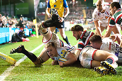 Stuart Townsend of Exeter Chiefs scores a try in the first half - Mandatory byline: Patrick Khachfe/JMP - 07966 386802 - 03/03/2017 - RUGBY UNION - Welford Road - Leicester, England - Leicester Tigers v Exeter Chiefs - Aviva Premiership.