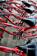 USA, Idaho, McCall, Red Bicycles for Hire