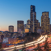 Sunset view of Seattle from Pacific Tower. Photo by Alabastro Photography.