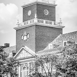 Panorama University of Cincinnati black and white vertical picture with Cincinnati McMicken College Hall. Panoramic picture ratio is 1:3.