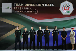 February 23, 2019 - Abu Dhabi, United Arab Emirates - Team Dimension Data from South Africa, during the Team Presentation, at the opening ceremony of the 1st UAE Tour, inside Louvre Abu Dhabi museum..On Saturday, February 23, 2019, Abu Dhabi, United Arab Emirates. (Credit Image: © Artur Widak/NurPhoto via ZUMA Press)
