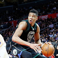16 December 2015: Milwaukee Bucks forward Giannis Antetokounmpo (34) drives during the Los Angeles Clippers 103-90 victory over the Milwaukee Bucks, at the Staples Center, Los Angeles, California, USA.