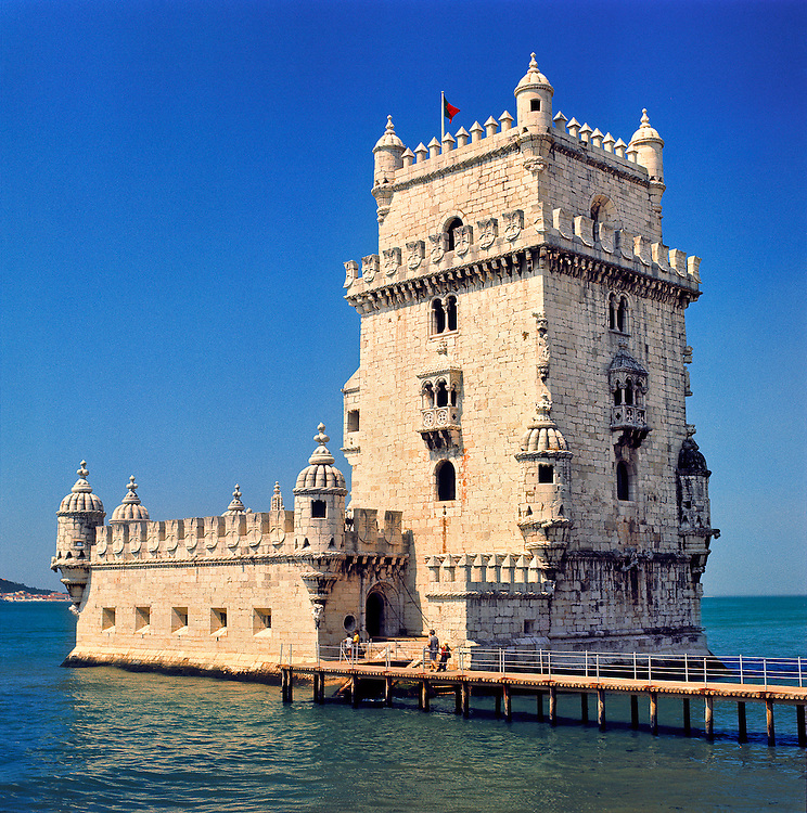 The Tower of Belem or Manueline Tower, built by Dom Manuel from 1515 to 1520, guards the entrance to the port of Lisbon, Portugal.