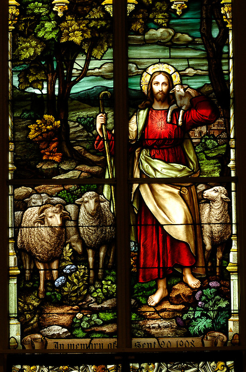 A stained glass image of the Good Shepherd inside of St. Francis Xavier Church, Superior.