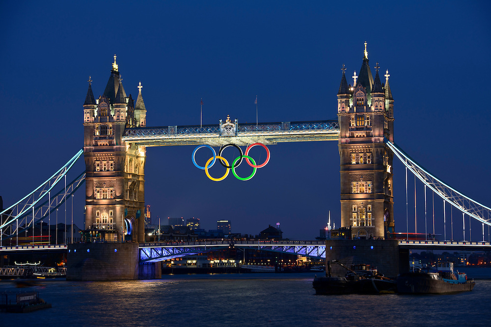 Day 15: 2012 London Olympic Games, Tower Bridge with the Olympic rings over the Thames River.