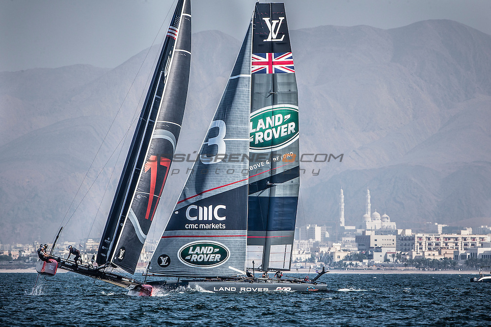 Louis Vuitton America's Cup World Series Oman 2016.Second day of racing, 28th of February 2016.Winner of the event Land Rover BAR<br /> Team Principal - Ben AinsliePaul Campbell-James,Giles scott,Nick Hutton,David Carr..Muscat ,The Sultanate of Oman.Image licensed to Jesus Renedo/Lloyd images/Oman Sail