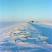 SHISHMAREF, ALASKA - 2010: Shishmaref Sea Wall.