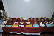 Various types of honey on display