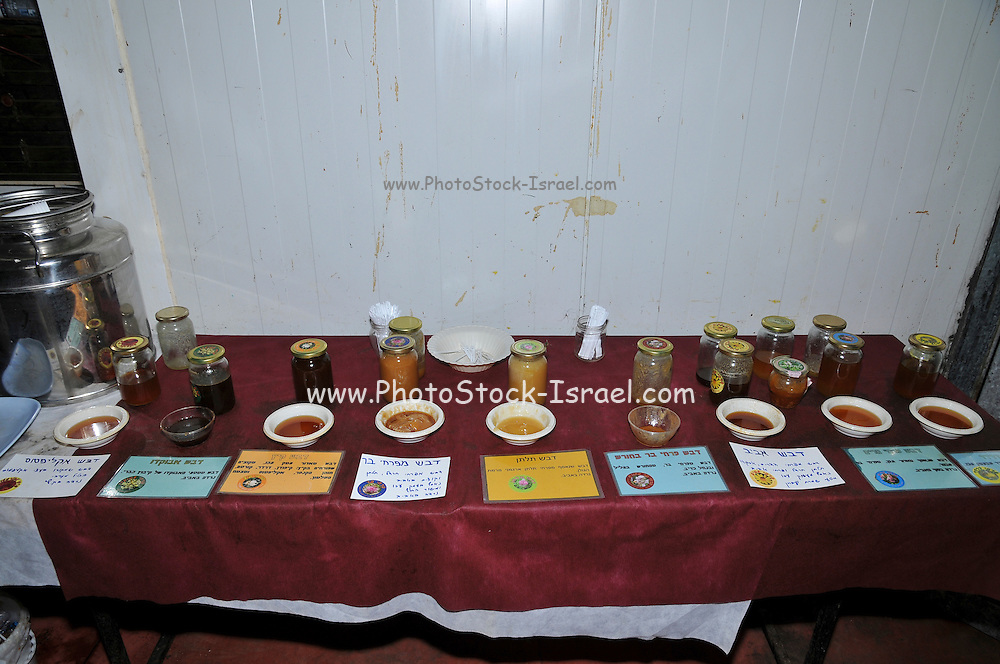 Various types of honey on display