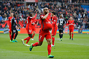 Lucas Rodrigues Moura da Silva (psg) scored a goal and celebrated it, Blaise Mathuidi (psg) and Maxwell Scherrer Cabelino Andrade (psg) during the French championship Ligue 1 football match between Paris Saint-Germain (PSG) and Bastia on May 6, 2017 at Parc des Princes Stadium in Paris, France - Photo Stephane Allaman / ProSportsImages / DPPI