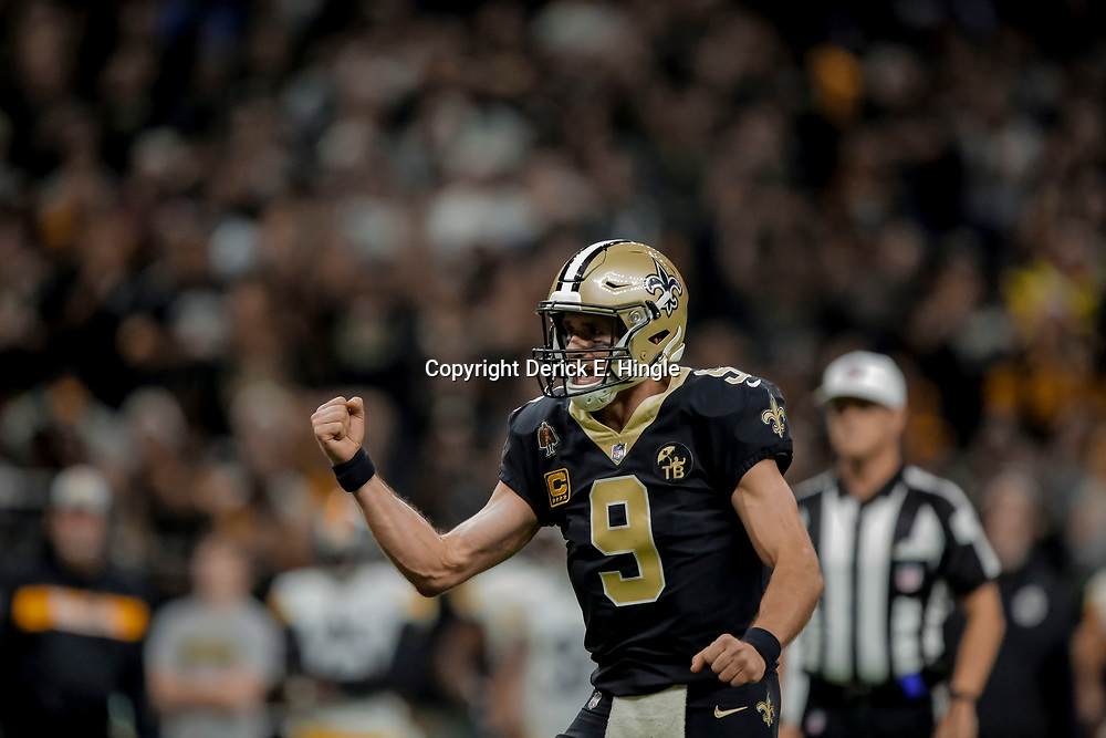 Dec 23, 2018; New Orleans, LA, USA; New Orleans Saints quarterback Drew Brees (9) celebrates after a touchdown against the Pittsburgh Steelers during the third quarter at the Mercedes-Benz Superdome. Mandatory Credit: Derick E. Hingle-USA TODAY Sports