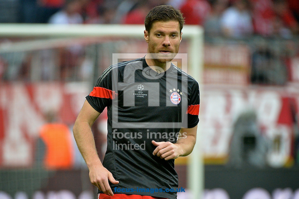 Xabi Alonso of Bayern Munich pictured ahead of the UEFA Champions League semi-final match at Allianz Arena, Munich<br /> Picture by Ian Wadkins/Focus Images Ltd +44 7877 568959<br /> 12/05/2015