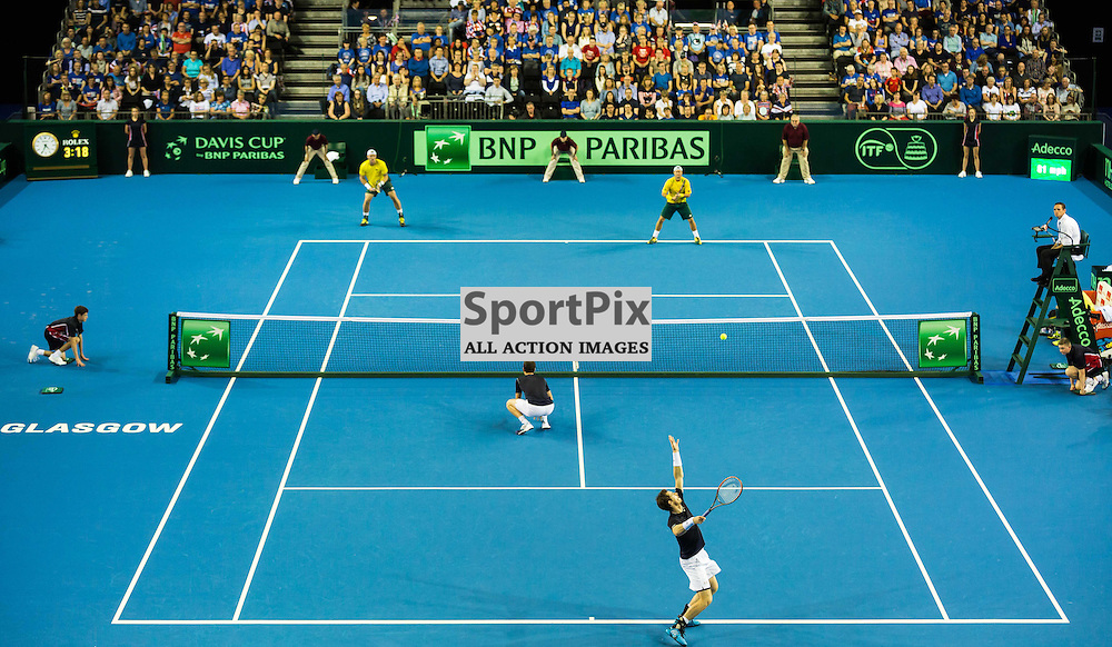 Andy Murray serves during the Davis Cup Semi-final between Great Britian and Australia (c) ROSS EAGLESHAM | Sportpix.co.uk