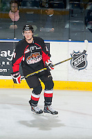 KELOWNA, CANADA - FEBRUARY 9: Kirk Bear #4 of Prince George Cougars skates against the Kelowna Rockets on February 9, 2015 at Prospera Place in Kelowna, British Columbia, Canada.  (Photo by Marissa Baecker/Shoot the Breeze)  *** Local Caption *** Kirk Bear;