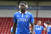 Bradford City striker Omari Patrick (34) inspects the pitch wearing beats headphones during the EFL Sky Bet League 1 match between Walsall and Bradford City at the Banks's Stadium, Walsall, England on 26 August 2017. Photo by Alan Franklin.