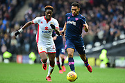 Portsmouth defender Nathan Thompson (20) battles for possession with Milton Keynes Dons striker (on loan from Chelsea) Ike Ugbo (27) during the EFL Sky Bet League 1 match between Milton Keynes Dons and Portsmouth at stadium:mk, Milton Keynes, England on 10 February 2018. Picture by Dennis Goodwin.