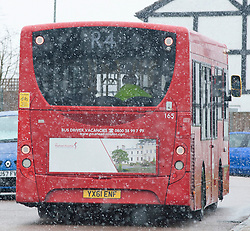 ©Licensed to London News Pictures 27/02/2020<br /> Orpington, UK. Snowy weather this morning for this bus in Orpington, South East London. Photo credit: Grant Falvey/LNP