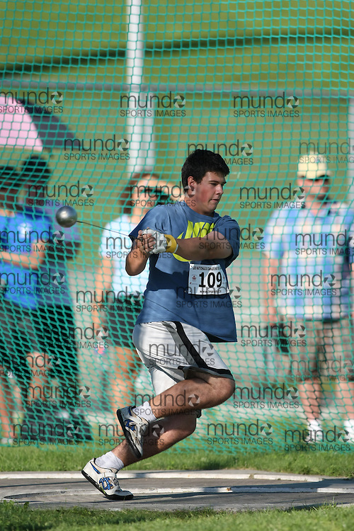 (Sherbrooke, Quebec---10 August 2008) Marc-Andre Charest competing in the hammer throw at the 2008 Canadian National Youth and Royal Canadian Legion Track and Field Championships in Sherbrooke, Quebec. The photograph is copyright Sean Burges/Mundo Sport Images, 2008. More information can be found at www.msievents.com.