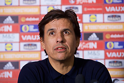 CARDIFF, WALES - Thursday, March 16, 2017: Wales' manager Chris Coleman during a press conference at the Vale Resort to announce his squad for the forthcoming 2018 FIFA World Cup Qualifying Group D match against Republic of Ireland. (Pic by David Rawcliffe/Propaganda)