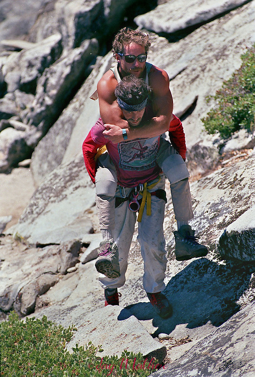 Mike Corbett, right, celebrates the completion the climb up El Capitan in Yosemite National Park with his partner, Mark Wellman in July 1989.  Wellman became the first paraplegic climber to make the climb.  the pari spent seven days on the ascent up the Shield route.