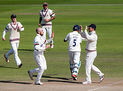 Bowler Jack Leach of Somerset celebrates with after Jeetan Patel of Warwickshire is stumped out for 98 by Luke Ronchi of Somerset - Mandatory byline: Rogan Thomson/JMP - 07966 386802 - 24/09/2015 - CRICKET - The County Ground - Taunton, England - Somerset v Warwickshire - Day 3 - LV= County Championship Division One.