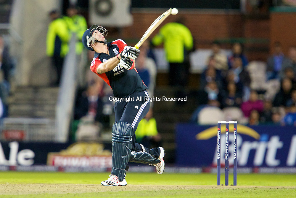 31.08.2011 Natwest International T20 England v India from Old Trafford. Kevin Pietersen nearly looses his helmet.