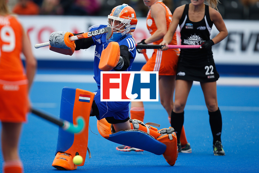 LONDON, ENGLAND - JUNE 18:  Joyce Sombroek of the Netherlands makes a save during the FIH Women's Hockey Champions Trophy 2016 match between Netherlands and New Zealand at Queen Elizabeth Olympic Park on June 18, 2016 in London, England.  (Photo by Joel Ford/Getty Images)