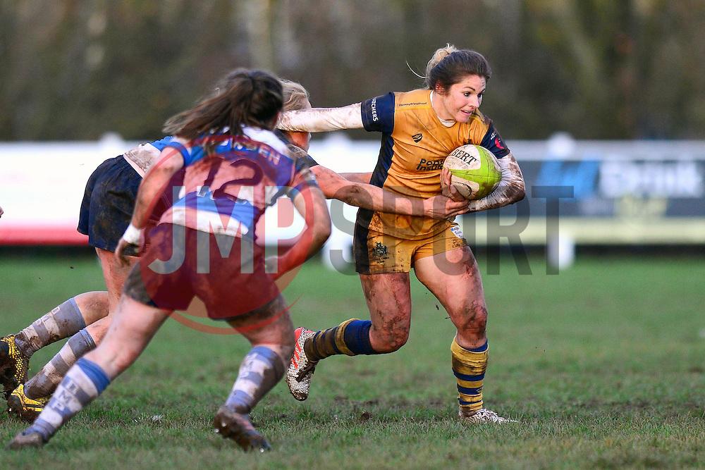 Amy Wilson Hardy of Bristol Ladies is challenged - Mandatory by-line: Dougie Allward/JMP - 11/12/2016 - RUGBY - Cleve RFC - Bristol, England - Bristol Ladies v Darlington Mowden Park Ladies - RFU Women's Premiership