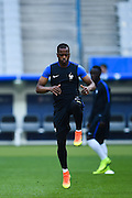 PARIS, FRANCE - JUNE 09: (CHINA OUT) <br /> <br /> Patrice Evra of France attends a training session on the eve of the beginning of the Euro 2016 European football championships football match against Romania at Stade de France stadium on June 9, 2016 in Saint-Denis near Paris, France<br /> ©Exclusivepix Media