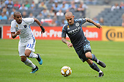 Alexandru Mitrita of NYCFC  against Judson of the San Jose Earthquakes during a MLS soccer game, Saturday, Sept. 14, 2019, in New York.NYCFC defeated San Jose Earthquakes 2-1.(Errol Anderson/Image of Sport)