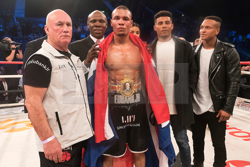 © Licensed to London News Pictures. 26/03/2016.  Boxer CHRIS EUBANK JR winks his boxing fight against NICK BLACKWELL defending British middleweight champion at the SSE Arena, Wembley.   Twenty-five-year-old Blackwell is one of the most exciting fighters in the country and won the British middleweight title in May 2015.  He has since defended his title twice.  London, UK. Photo credit: Ray Tang/LNP