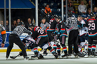 KELOWNA, CANADA - OCTOBER 13:  A line brawl breaks out after the game ending whistle between the Kelowna Rockets and the Tri-City Americans  on October 13, 2018 at Prospera Place in Kelowna, British Columbia, Canada.  (Photo by Marissa Baecker/Shoot the Breeze)  *** Local Caption ***