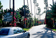 Image of the entrance to the Beverly Hills Hotel in Beverly Hills, Los Angeles, California, America west coast