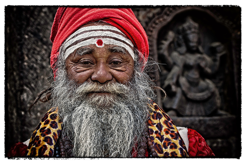 A Sadhu or holy man looks on from Katmandu, Nepal.