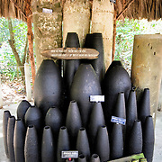 A display of the wide range of bombs, missiles, and artillery shells that were used by American forces against the Viet Cong in the area. The Cu Chi tunnels, northwest of Ho Chi Minh City, were part of a much larger underground tunnel network used by the Viet Cong in the Vietnam War. Part of the original tunnel system has been preserved as a tourist attraction where visitors can go down into the narrow tunnels and see exhibits on the defense precautions and daily life of the Vietnamese who lived and fought there.