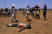 Holy Week. After the last battle the Evils forces, the Judea, are killed by the Capitanes that struggle to defend Jesus Christ against the ?Jews?, the devil's militia looking for Jesus Christ to kill him. Violence is a essential part of the ceremonies and somebody can be killed in the struggles with wood swords. Coras are a small indigenous people living scattered in the mountains of the Mexican state of Nayarit . They still follows their traditions, protecting in a very strong way their secret rites, that anthropologists believe the most interesting of Central America for their synchretism. The Holy Week, the most important religious event of the year, is characterized with impressive ceremonies.