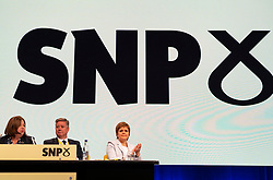 Edinburgh, Scotland, UK. 27 April, 2019. SNP ( Scottish National Party) Spring Conference takes place at the EICC ( Edinburgh International Conference Centre) in Edinburgh. Pictured; First Minister Nicola Sturgeon listens to speeches at conference